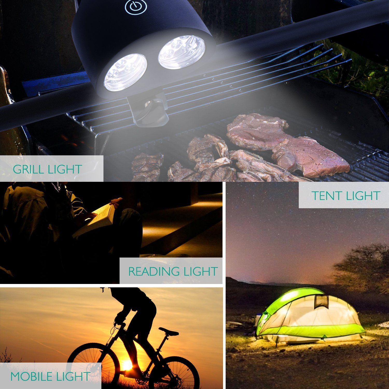 TomCare Grill Light 10 LED Super Bright Barbecue Grill Lights Weather Resistant 120 Lumen 360 Degree Rotation BBQ Light Outdoor Grill Light Accessories Barbecue Accessories Handle Mount for BBQ(1)