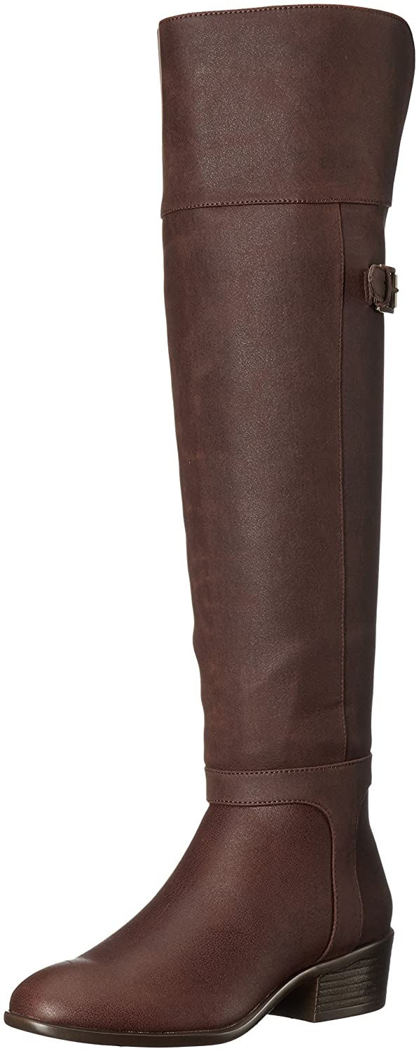 Brown Faux Leather Over the Knee Fold Over Low-Heel Boot - DeluxeAdultCostumes.com