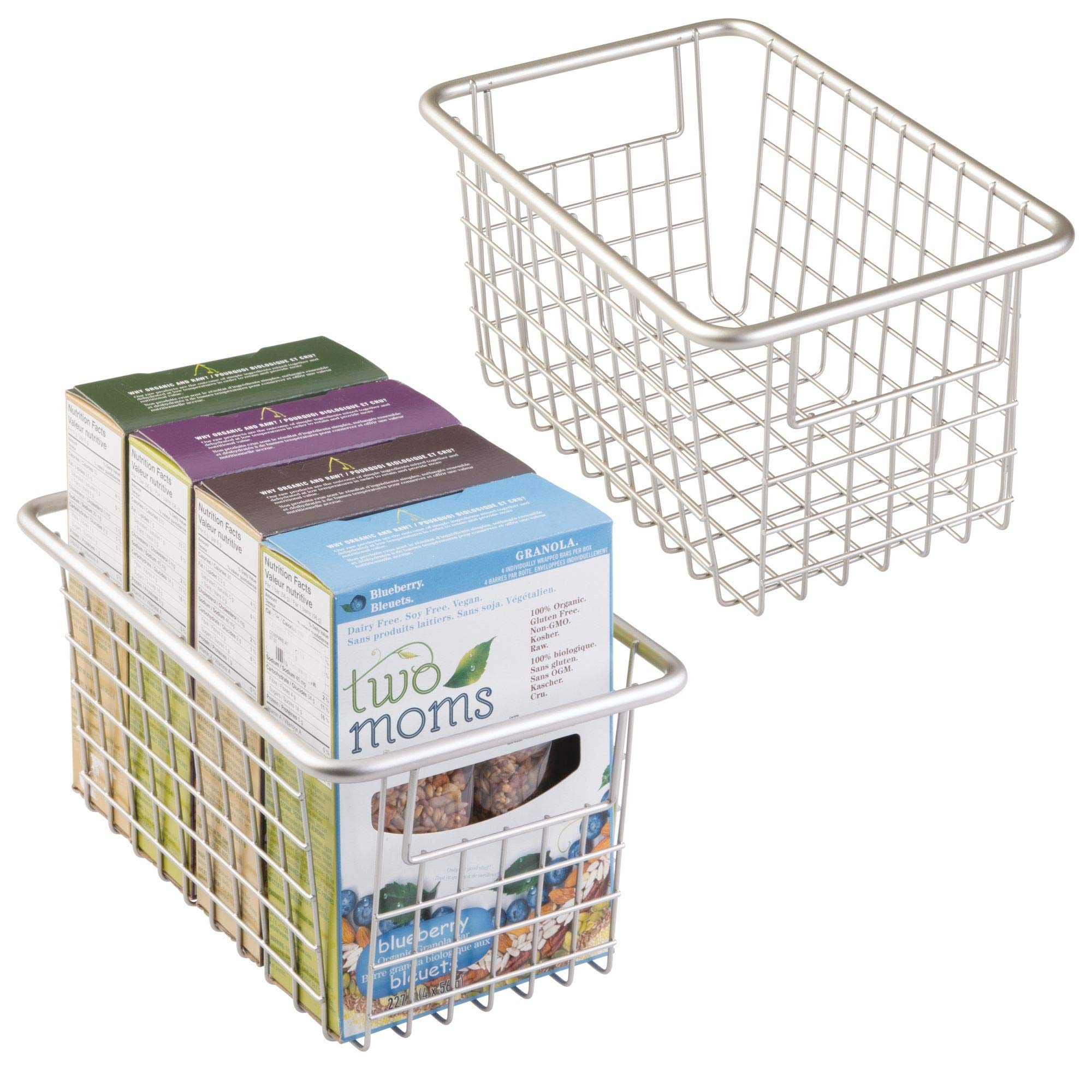 mDesign Household Wire Storage Organizer Bin Basket with Built-in Handles for Kitchen Cabinets, Pantry, Closets, Bedrooms, Bathrooms - Deep, Pack of 2, Satin