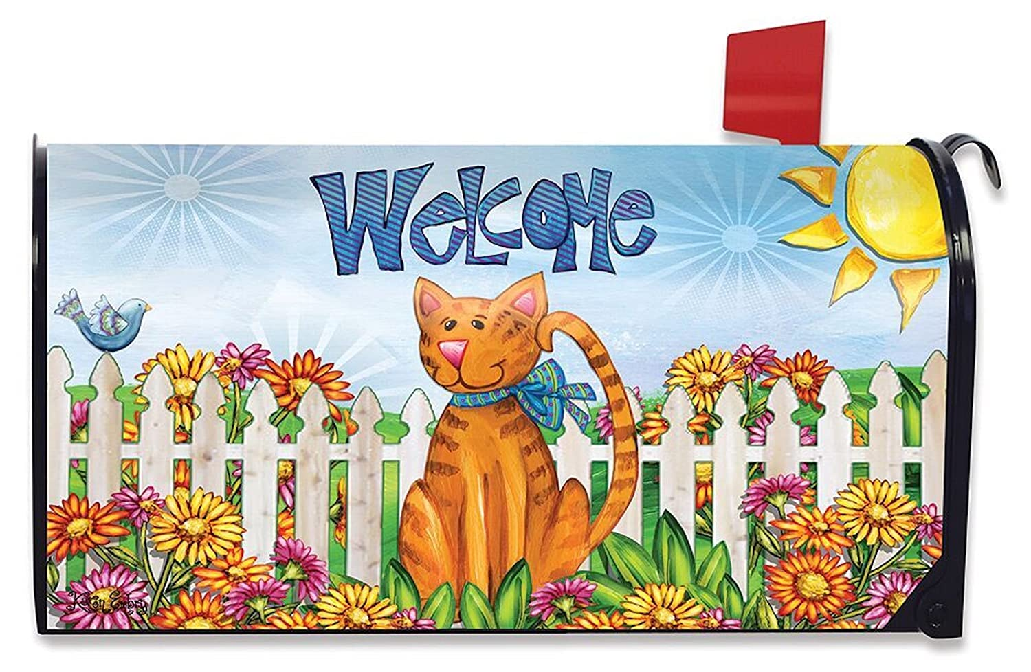 Amazon.com: Welcome Cat Spring Magnetic Mailbox Cover Floral Kitty Fence  Standard Briarwood: Home Improvement