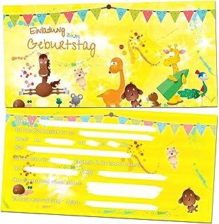 12 Einladungskarten Zum Kindergeburtstag   Motiv Tiere   Für Kinder,  Jungen, Mädchen, Party