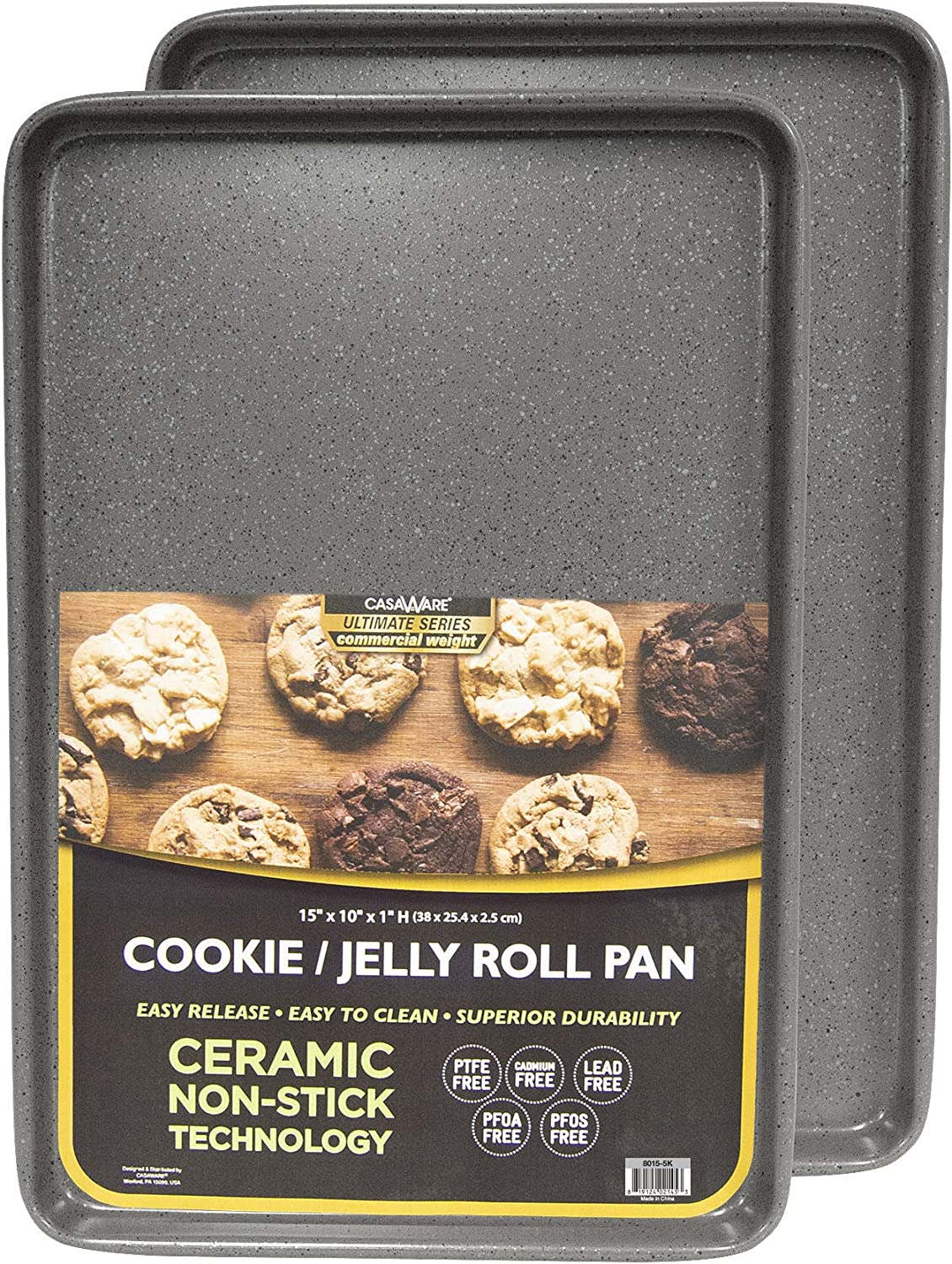casaWare 2pc Ultimate Commercial Weight 15 x 10 x 1-Inch Cookie Sheet Set (Silver Granite)