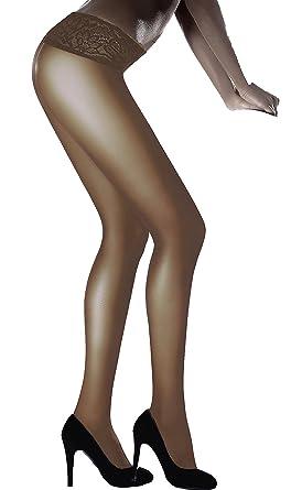 Marilyn modische, semi matte Hüftstrumpfhose mit komfortablem Spitzenhüftband und Flachnähten 30 Denier