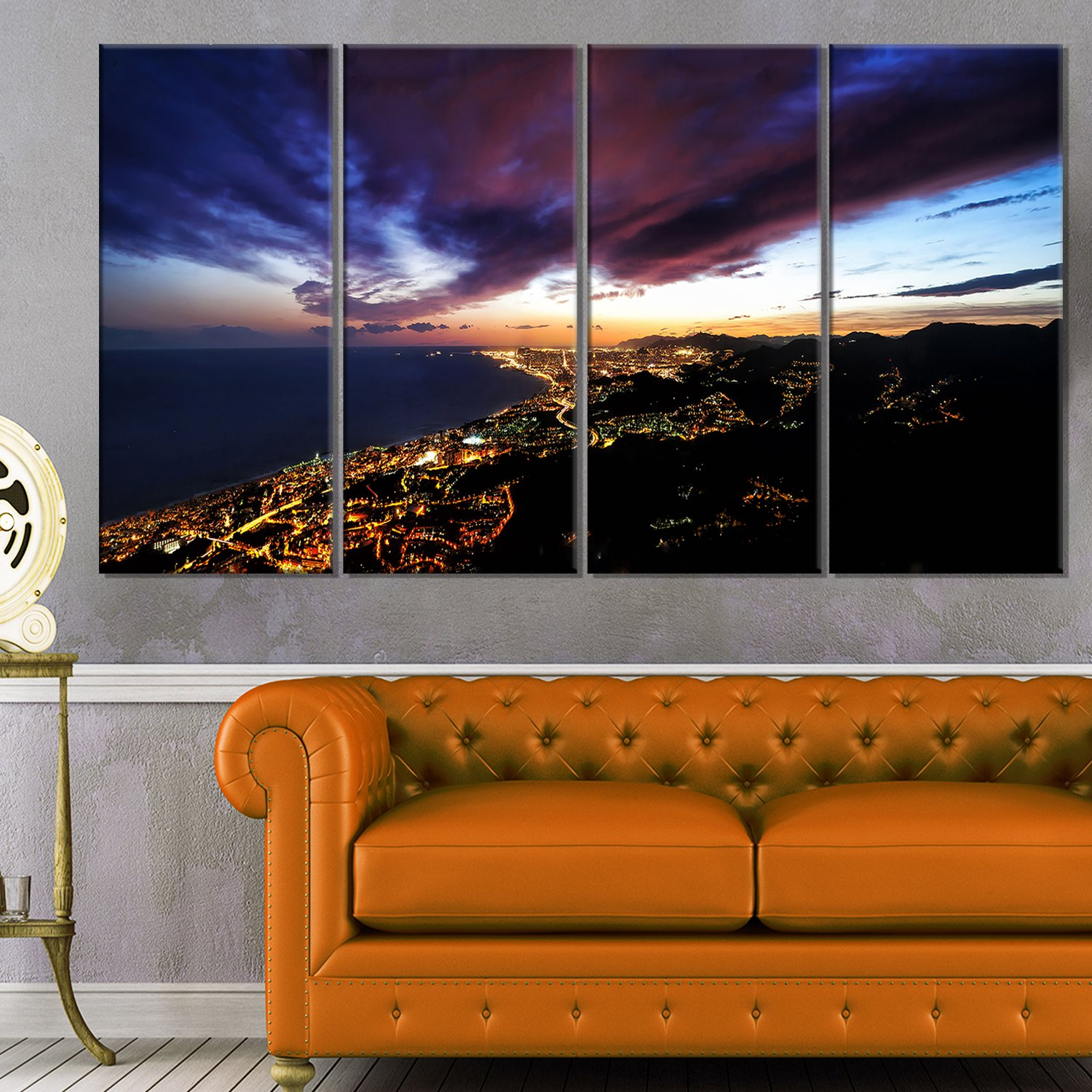 Designart Barcelona Skyline Panorama-Cityscape Artwork Canvas-60x32 5 Piece-PT10986-373 60x32-5 Panels Diamond Shape