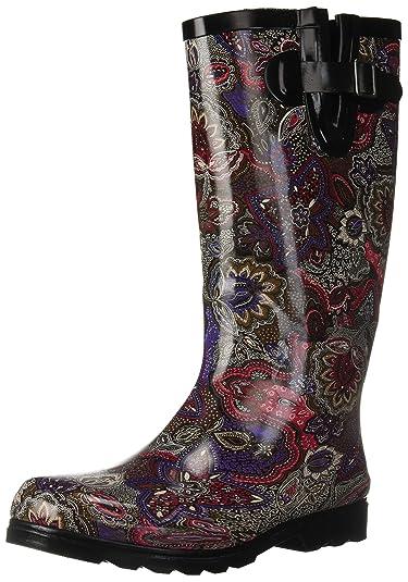 2c806be6e72 Nomad Women's Puddles Rain Boot, berry paisley, 5 Medium US