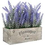 Velener Artificial Potted Plants Lavender for Home Decor (Purple Flower, Wooden Tray)