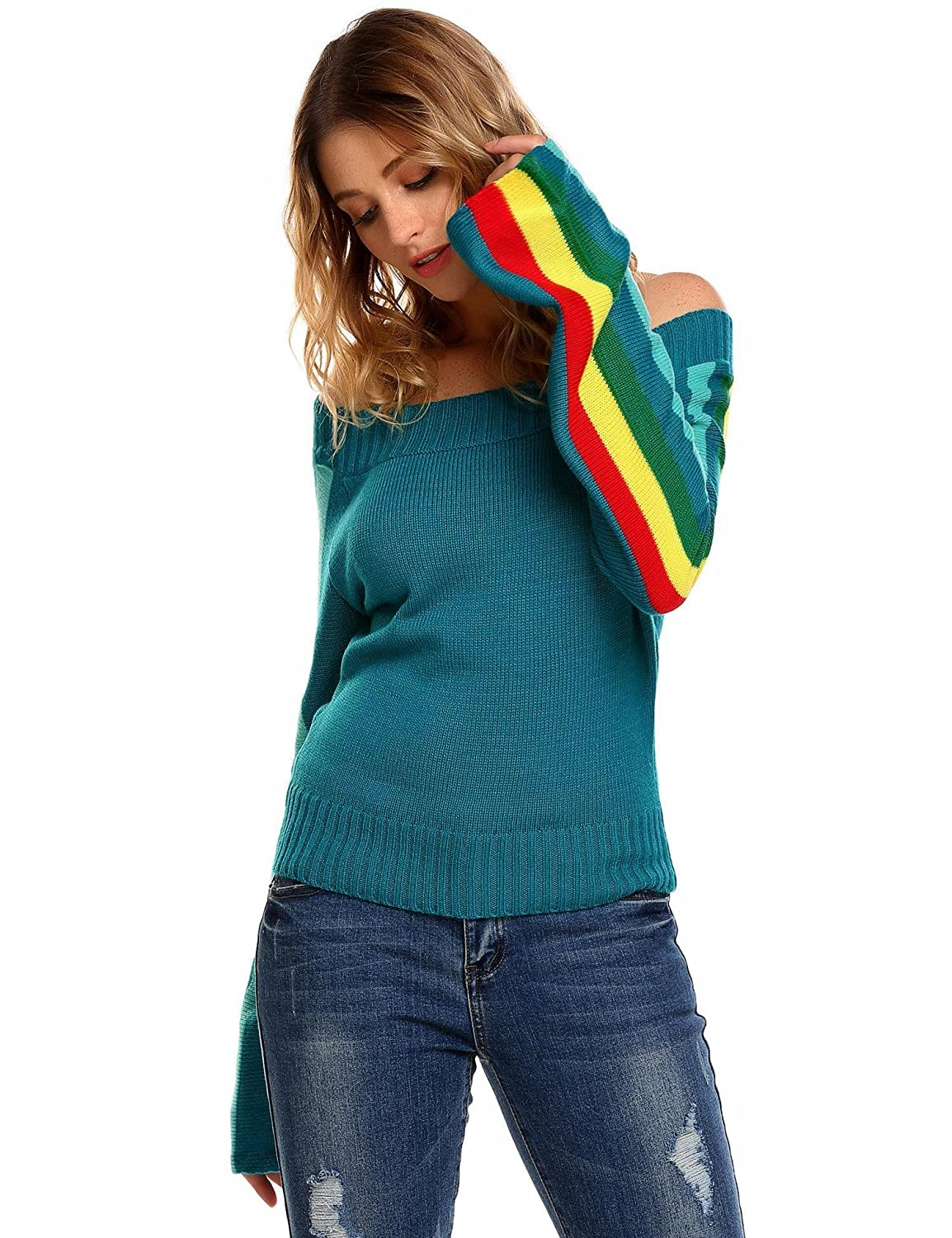 SummerRio Women Sweater Sexy Off Shoulder Long Sleeve Pullover Striped Sweater Top for New Year