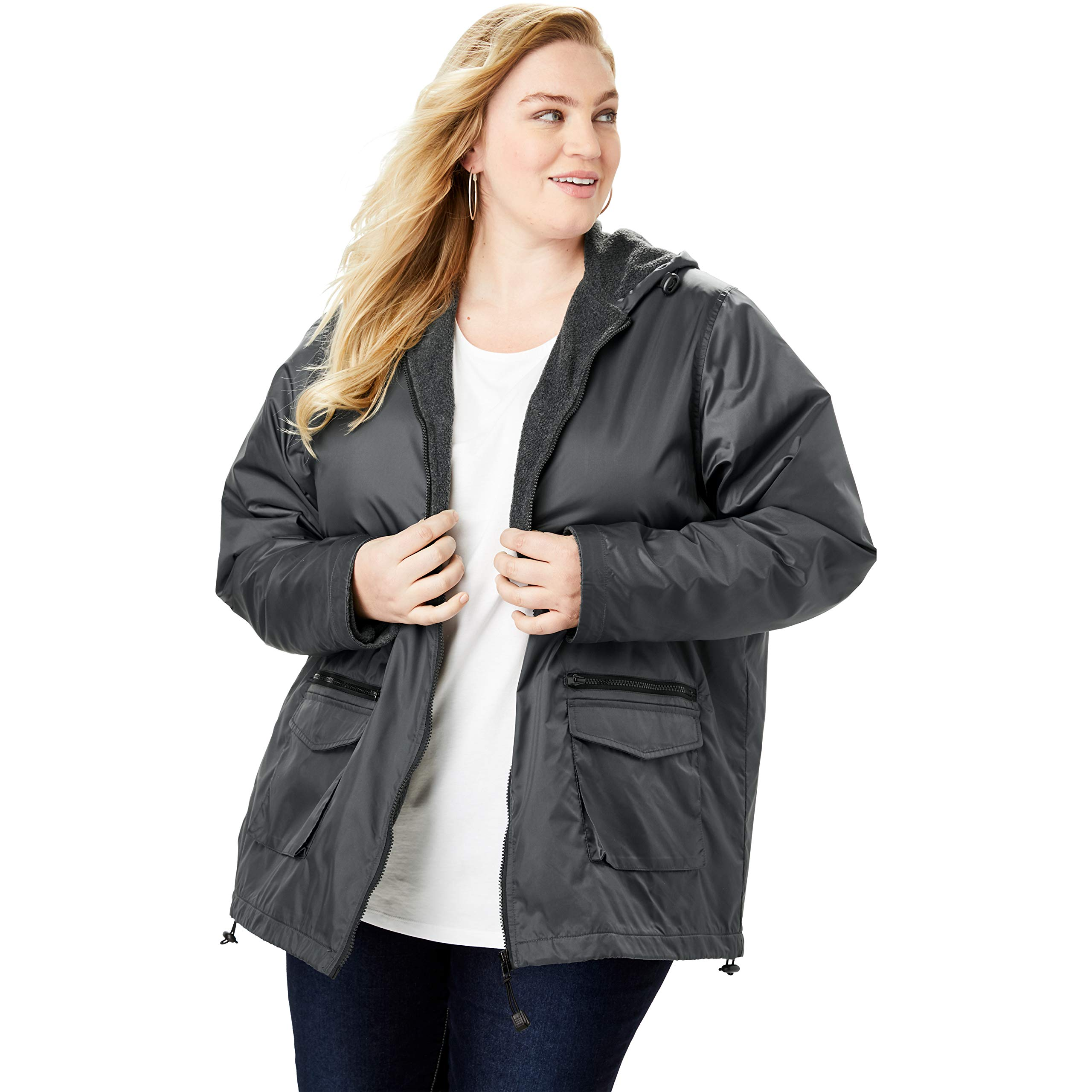 Roamans Women's Plus Size Hooded Jacket with Fleece Lining - Dark Charcoal, 5X by Roamans