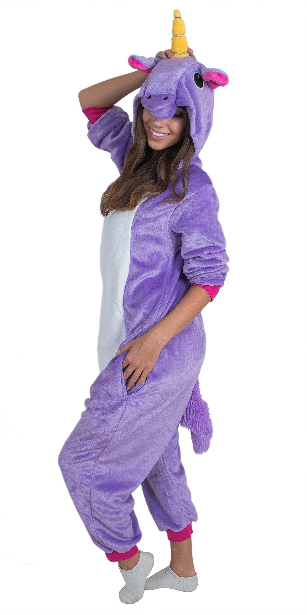 Bad Bear Brand Adult Onesie Unicorn Kigurumi Pajamas (Large, Purple Plush)