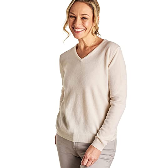 84331ef254d Woolovers Ladies Cashmere and Merino V Neck Knitted Sweater Cream, XL