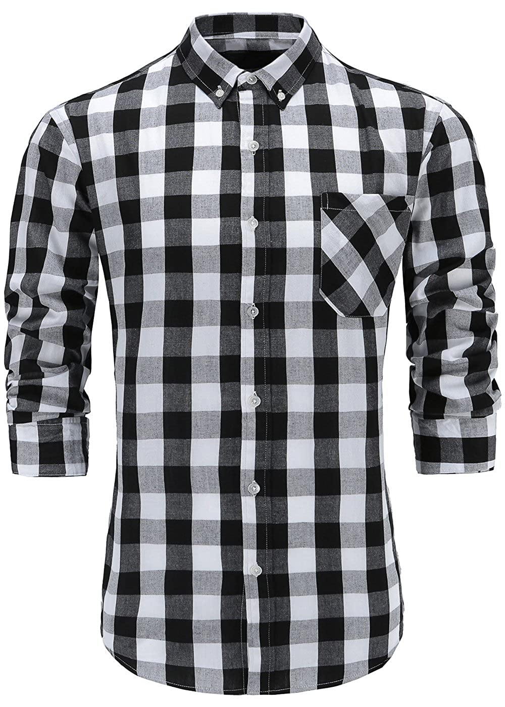 Katesui Mens Slim Fit Long Sleeve Button Down Plaid Dress Shirt At