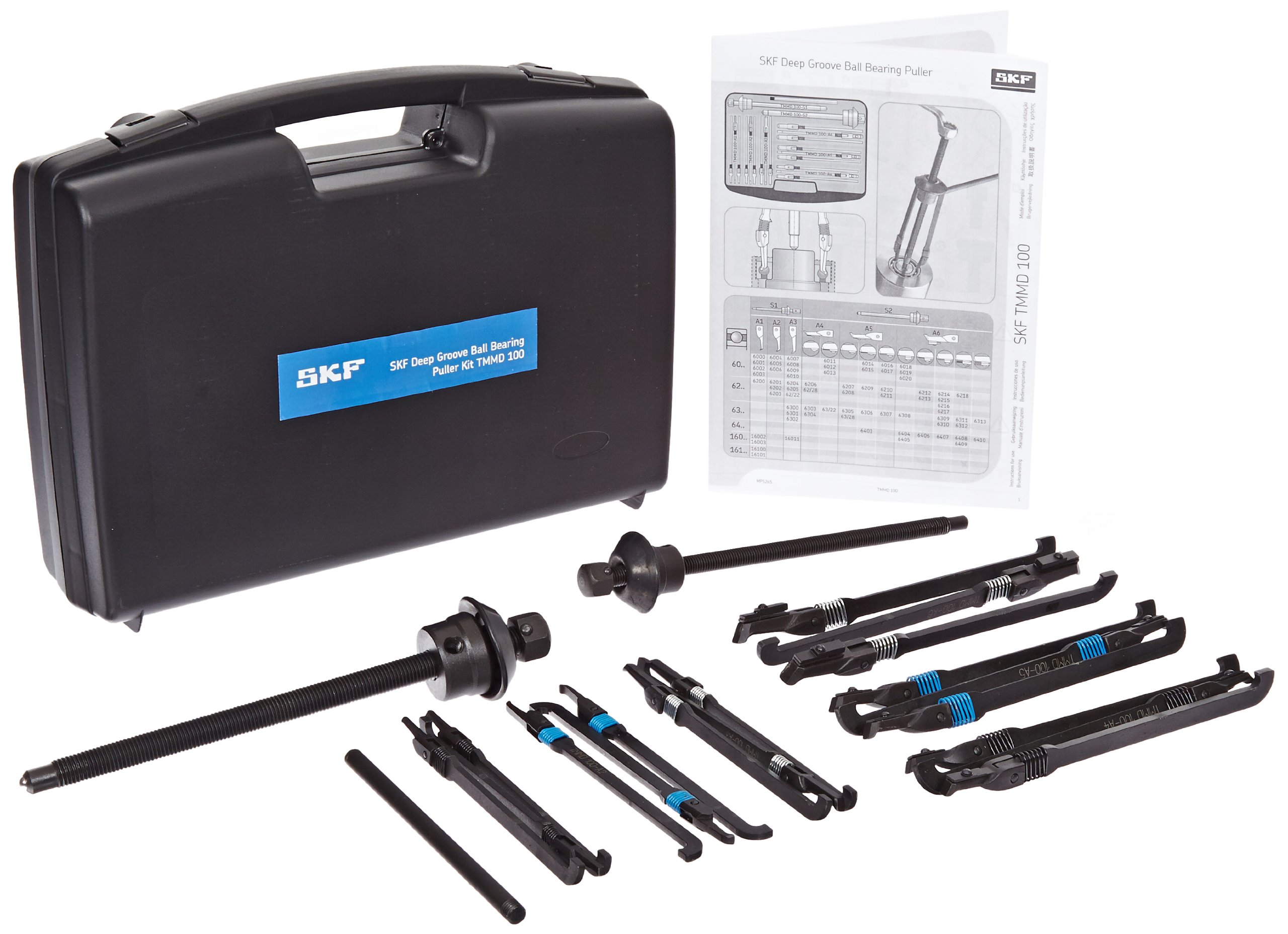 SKF TMMD 100 Blind Housing Puller Kit, 0.4 - 3.9'' Shaft Diameter Range, 6 Arm Sets, 2 Spindles