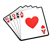 8.2'' X 9'' Gambling Poker Playing Cards Red Hearts Cartoon Logo Jacket t-Shirt Jeans Polo Patch Iron on Embroidered Logo Motorcycle Rider Biker Patch by Tour les jours Shop