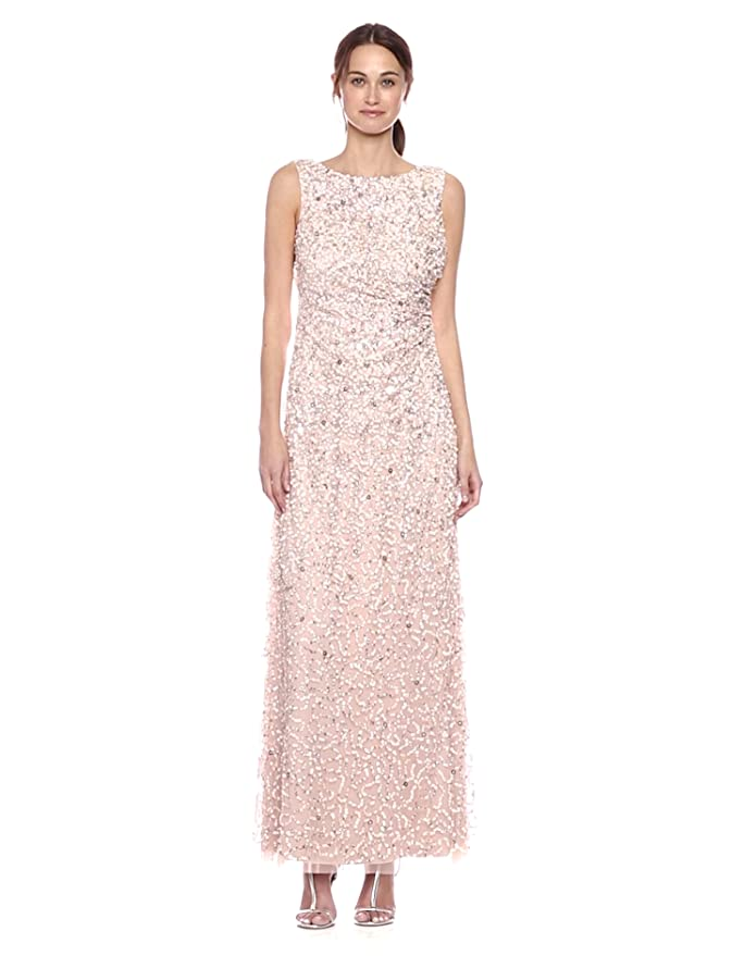 227f7e13100 Adrianna Papell Women s Sleevless Cowl Back Beaded Long Gown at Amazon  Women s Clothing store