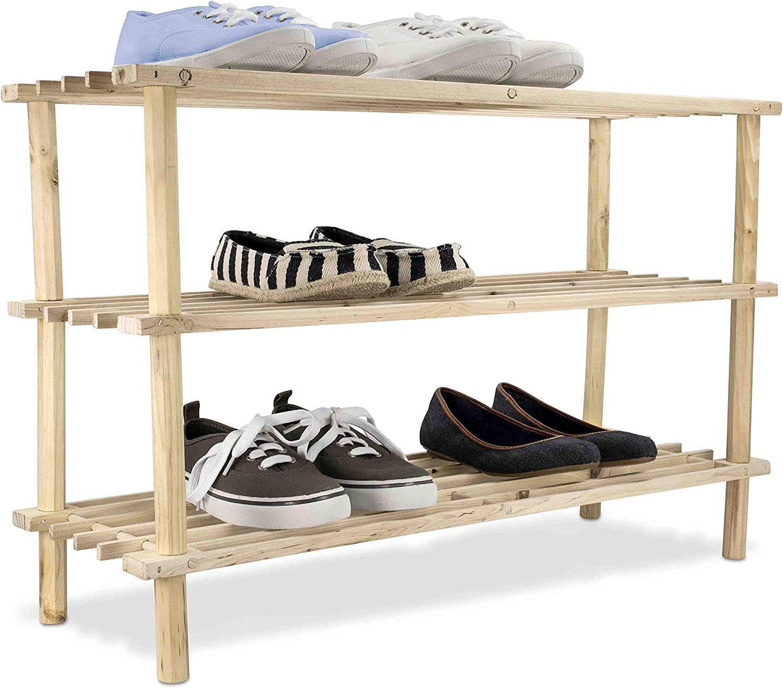 Home Basics 12 Pair 3 Tier Wooden Shelves Shoe Rack Amazon Ca Home Kitchen