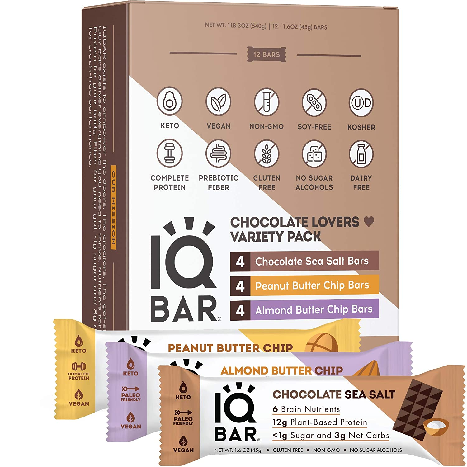 IQBAR Brain and Body Keto Protein Bars - Chocolate Lovers Variety Keto Bars - 12-Count Energy Bars - Low Carb Protein Bars - High Fiber Vegan Bars and Low Sugar Meal Replacement Bars - Vegan Snacks