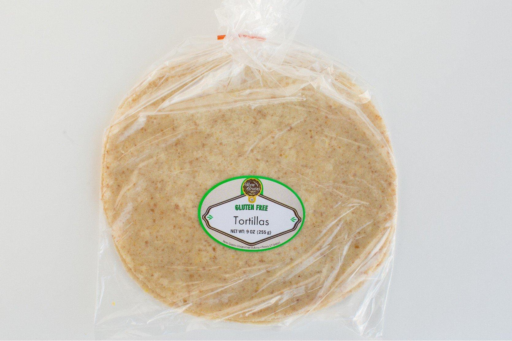 """New Grains Gluten Free Flour Tortillas 2 packs (4 - 10"""" tortillas each)"""