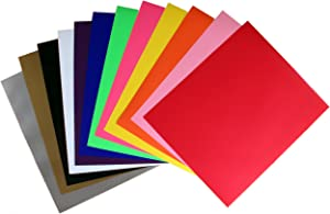 Rozzy Crafts 12 Color Iron-On Heat Transfer Vinyl (HTV) Starter Bundle, Each One 12'' x 10'' PU, HTV Pack for Cricut and Silhouette, Use a Home Iron or Heat Press, 12 Sheets