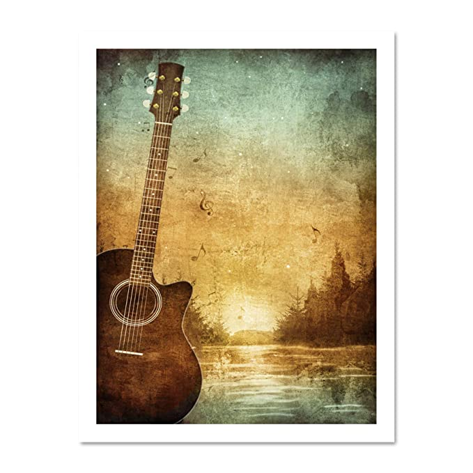 PAINTING DRAWING DESIGN GUITAR LANDSCAPE FOREST GRUNGE ART PRINT POSTER MP3784A