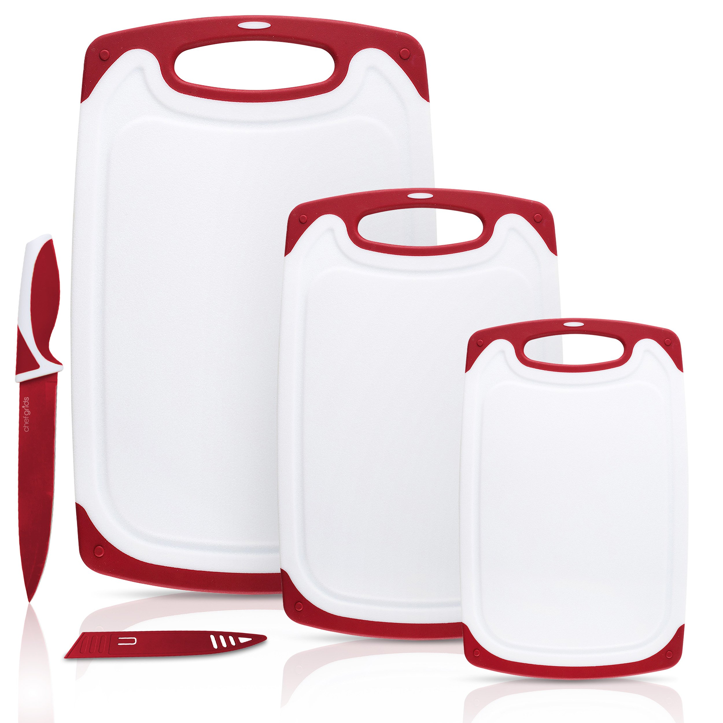 Chef Grids Durable Plastic Cutting Board Set 3 Piece Chopping Board Thick Plastic for Vegetable Meat or Cheese with Non-Slip Feet and Handles Deep Drip Juice Groove   Dishwasher Safe   Plus Knife Red