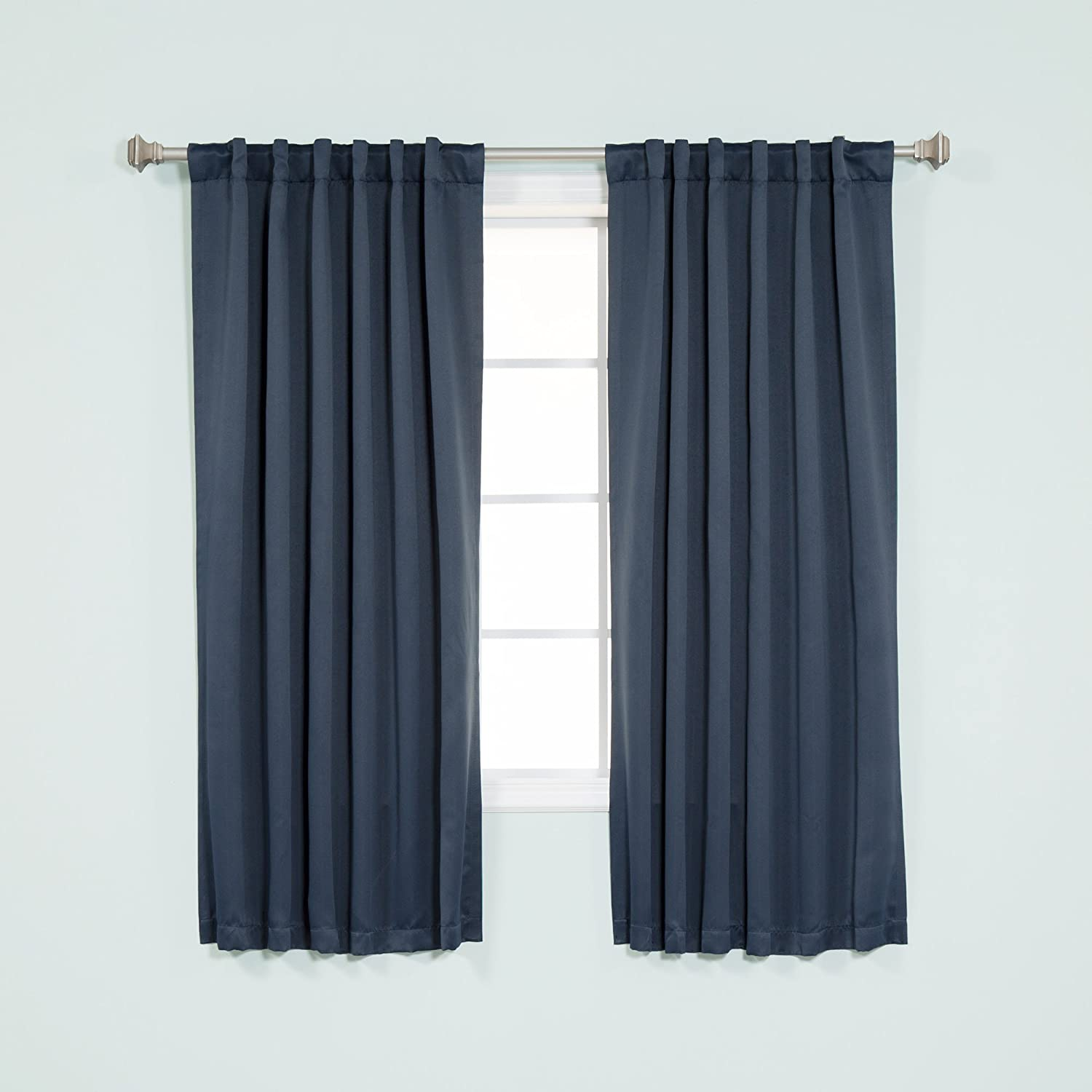 "Best Home Fashion Premium Blackout Curtain Panels - Solid Thermal Insulated Window Treatment Blackout Drapes for Bedroom - Back Tab & Rod Pocket (52"" W x 63"" L, BO Navy)"