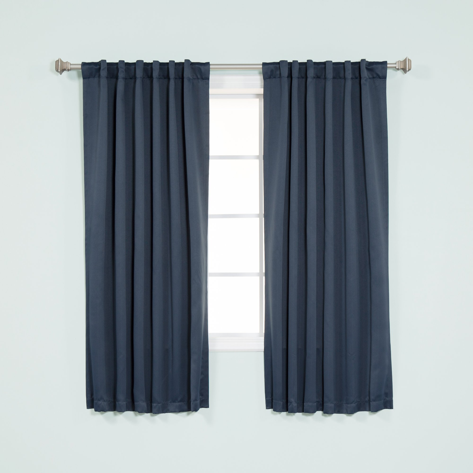 Best Home Fashion Thermal Insulated Blackout Curtains - Back Tab/ Rod Pocket - Navy - 52''W x 63''L - (Set of 2 Panels)