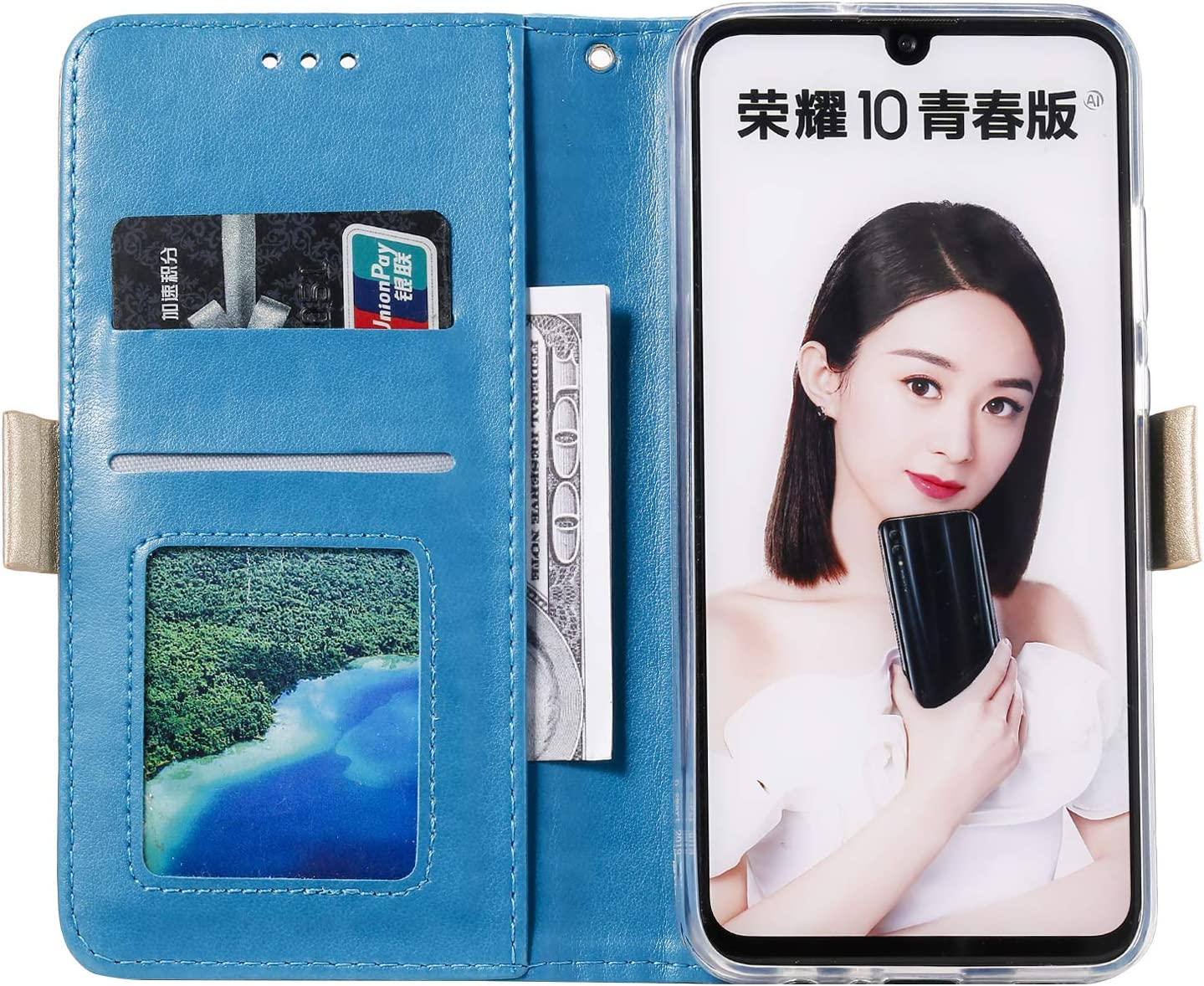Shockproof Flip Case Cover for Huawei Honor10 Lite Lomogo Leather Wallet Case for Huawei P Smart 2019//Honor 10 Lite with Stand Feature Card Holder Magnetic Closure LOHHA120253 Green