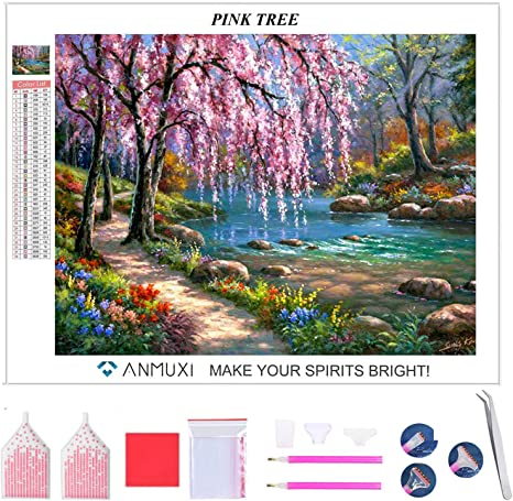 ANMUXI DIY 5D Diamant Peinture Point De Croix Broderie Diamond Painting Kits Mural D/écoration FLOWER HOUSE 30X40CM 12X16