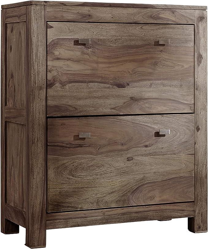 Clever moebel Meuble à chaussures en bois de pin massif huilé avec 3 soupapes, meuble à chaussures NEU