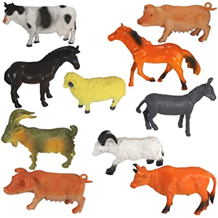 Amazon Com Farm Animal Toys For Kids Pack Of 10 Realistic