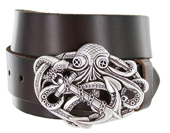 Men's Pirate Octopus Kraken Anchor Dark Brown Leather Belt