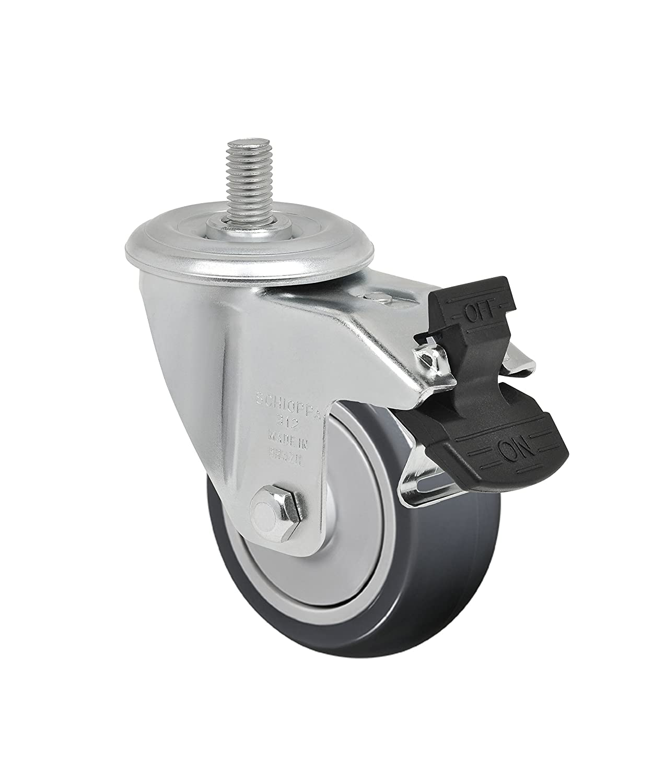 Non-Marking Thermoplastic Rubber Precision Ball Bearing Wheel 150 lbs GLEID 312 TBE G Schioppa L12 Series 1//2 Diameter x 1 Length Threaded Stem 3 x 1-1//4 Swivel Caster with Total Lock Brake
