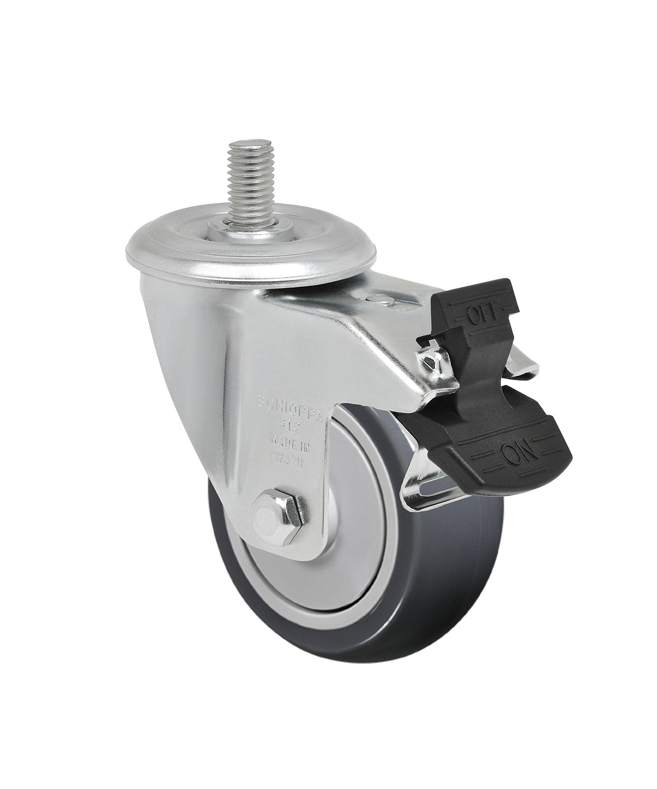Schioppa L12 Series, GLEFD 312 TBE G, 3 x 1-1/4'' Swivel Caster with Total Lock Brake, Non-Marking Thermoplastic Rubber Precision Ball Bearing Wheel, 150 lbs, 10 mm Diameter x 25 mm Length Threaded Stem