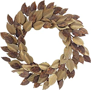 Huashen Winter Wreath with Metal Magnolia Leaf for Front Door Adjustable Leaves Golden & Copper Color Home Décor 24 Inch