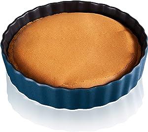 9 inch Porcelain Pie Dish, Ceramic Pie Pan, Round Baking Dish, non-stick Oven Freezer and Dishwasher Safe for Dinner Pumpkin Apple Pie Pecan Pie - JH JIEMEI HOME