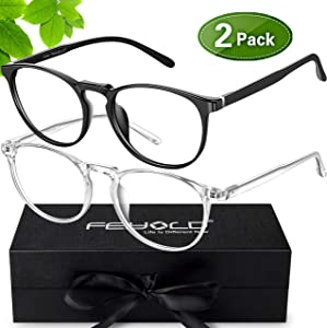 FEIYOLD Blue Light Blocking Glasses Women/Men,Retro Round Anti Eyestrain Computer Gaming Glasses(2Pack)
