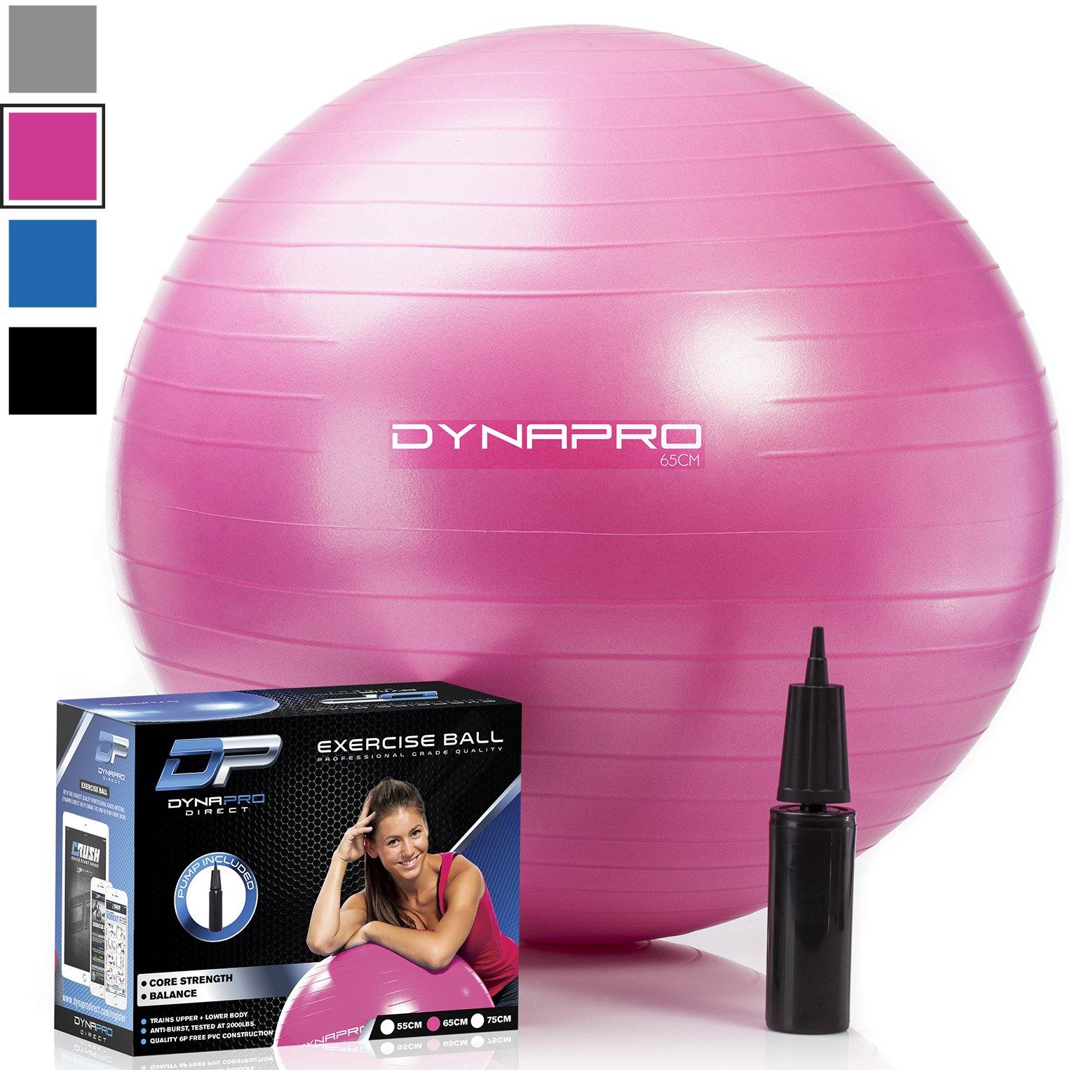 DYNAPRO Exercise Ball - 2,000 lbs Stability Ball - Professional Grade - Anti Burst Exercise Equipment for Home, Balance, Gym, Core Strength, Yoga, Fitness, Desk Chairs (Pink, 45 Centimeters)