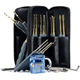 Geepro 25 Pieces Premium Practice Lock Pick Set, One Blue Visible Cutaway Inside View Padlocks with 2 keys, 24pcs Various Picks Crochet Hook, Wrenches