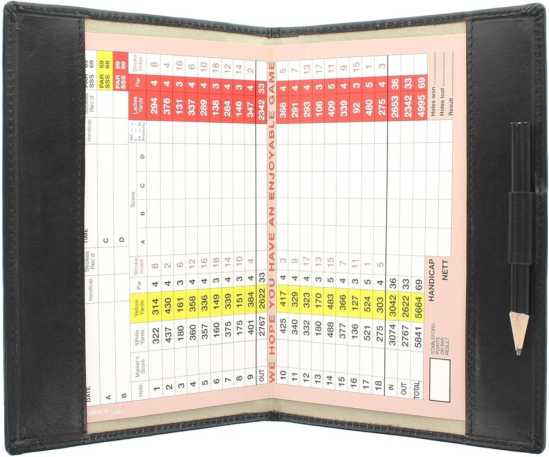 Mala Leder Scorekarten f/ür Gro/ßbritannien Golf-Scorekartenhalter 2316 Irland und Europa Schwarz