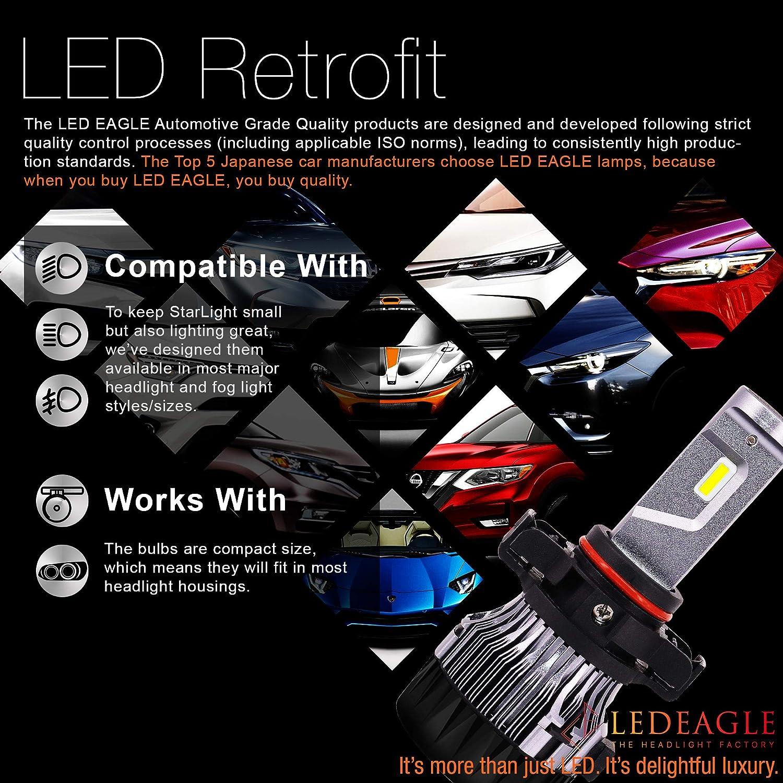 HB3 10000lm CREE Chip Auto LED Light Conversion Kit 12v Replace for Car Halogen Lights or HID Bulbs,6000K-6500K Cool White CREE-XD-9005-6K LED EAGLE 9005 LED Car Headlight Bulbs Kit