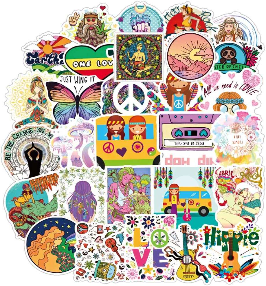 Hippie Sticker Pack of 100 Hippy Stickers for Laptops Hydro Flasks Water Bottles Luggage