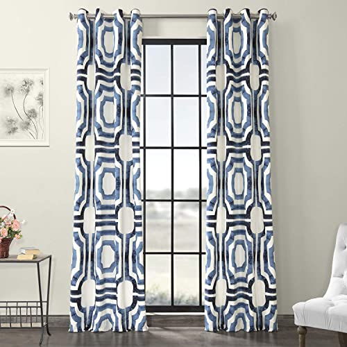 HPD Half Price Drapes PRTW-D23B-120-GR Grommet Printed Cotton Curtain 1 Panel
