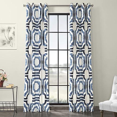 HPD Half Price Drapes PRTW-D23B-84-GR Grommet Printed Cotton Curtain 1 Panel