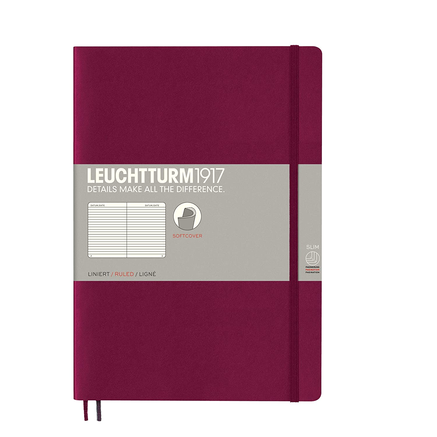 Leuchtturm1917 Softcover B5 Ruled Notebook Port Red 121 Numbered Pages