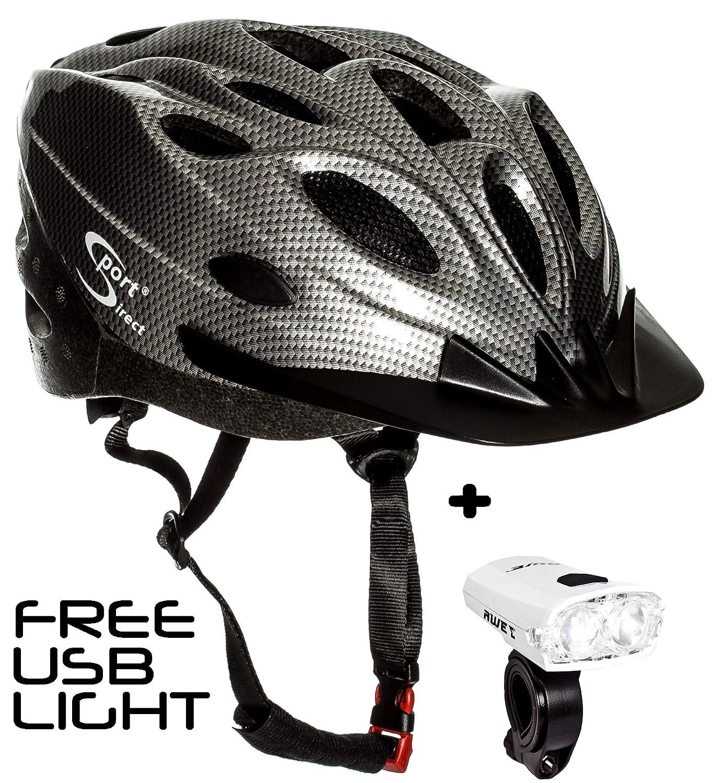 スポーツダイレクト18ベントグラファイト自転車ヘルメット&FREE USBフロントライトワース   B07L99JK9M