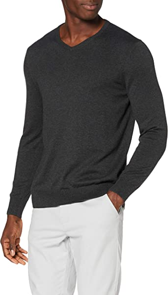 MERAKI Mens 100/% Cotton V-Neck Jumper
