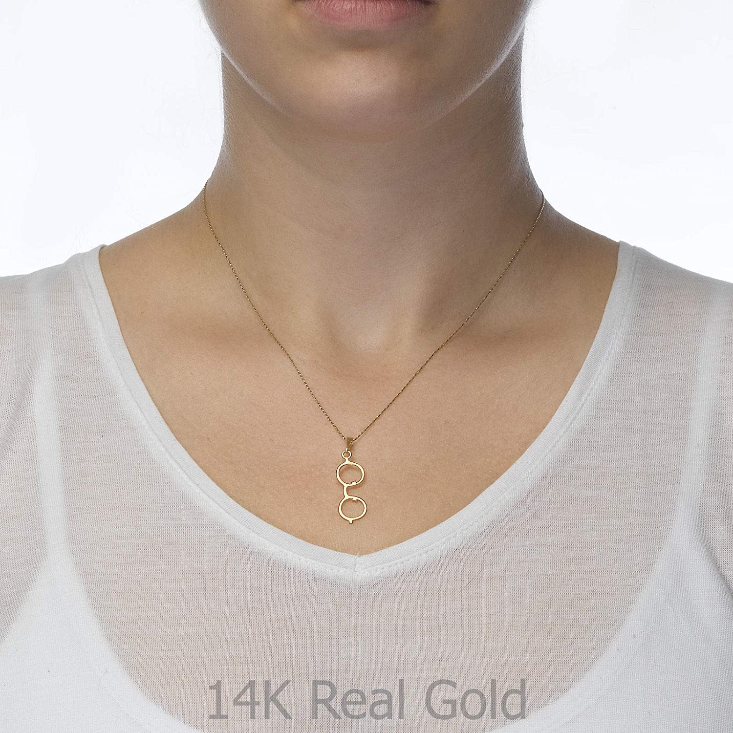 14K Yellow Gold Golden Glasses Pendant With Necklace