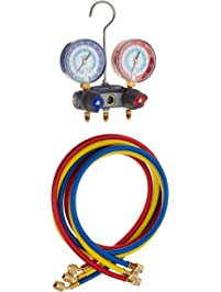 Yellow Jacket 49887 Titan 2-Valve Test and Charging Manifold Degrees F, psi Scale, R-22/134A/404A Refrigerant, Red/Blue...