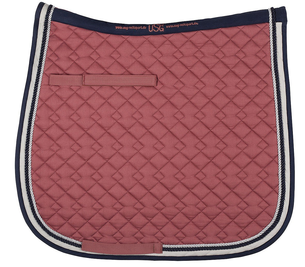 USG Dressage Quillted Saddle Cloth with USG Embroidery, Full, Red/ Navy/ Beige/ Mud with Border UNJFB 58935