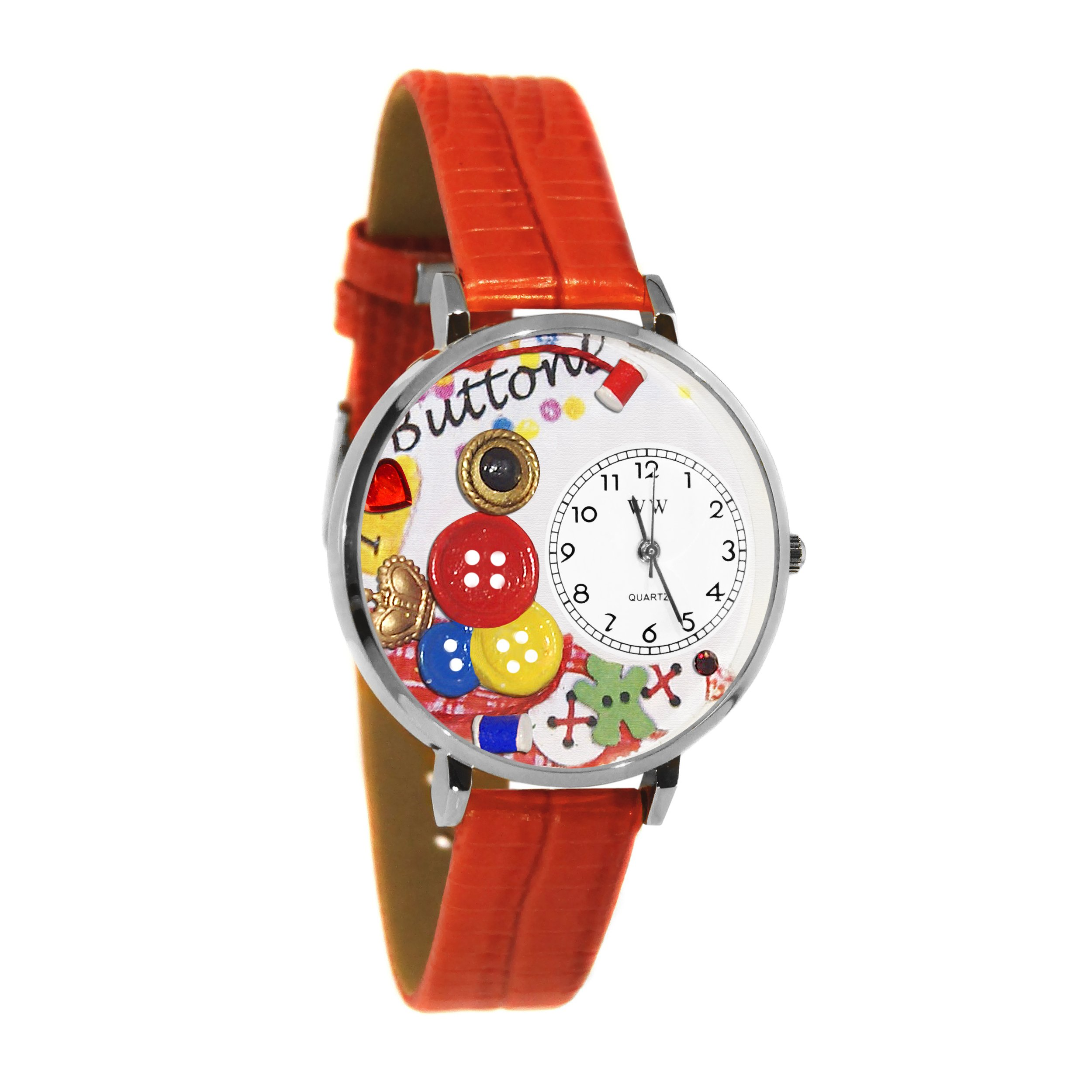 I Love Buttons Red Leather And Silvertone Watch #WG-U0410011